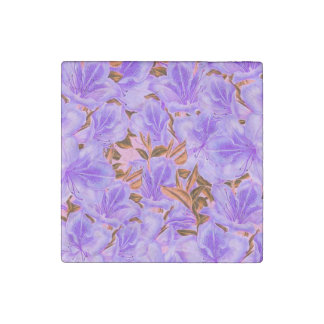 Lavender Abstract Flowers Stone Magnet