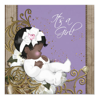 Lavender African American Baby Girl Shower 13 Cm X 13 Cm Square Invitation Card