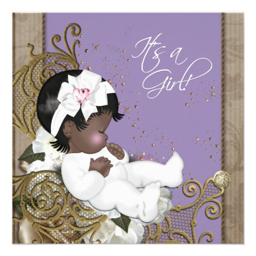 Lavender African American Baby Girl Shower Custom Announcements