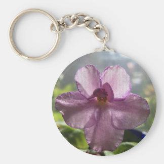 Lavender African Violet Flower Keychains