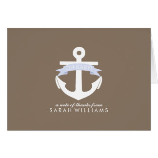 Lavender Anchor Nautical Baby Shower Note Card