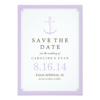 Lavender Anchor Wedding Save the Date Card