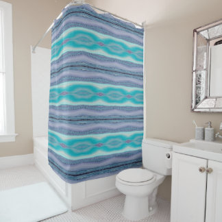 Lavender and Aqua Striped Stitch Pattern Curtain