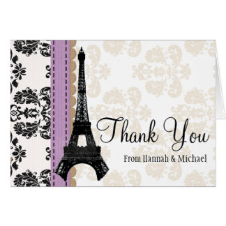 LAVENDER AND BLACK DAMASK EIFFEL TOWER THANK YOU NOTE CARD