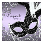 Lavender and Black Mask Masquerade Party Personalized Invitation