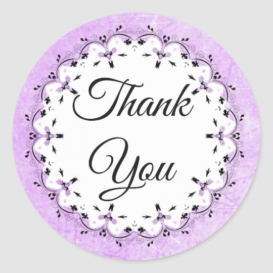 Lavender and Black Thank You Stickers