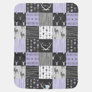 Lavender And Black Woodland Patchwork Baby Blanket