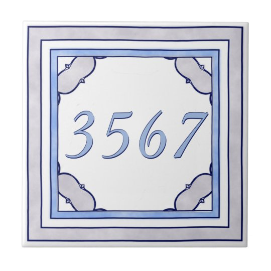 Lavender and Blue Small House Number Tile