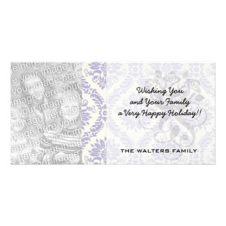 lavender and cream lovely damask photo card template