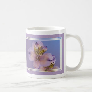 Lavender and Gold Alstroemeria Flowers Classic White Coffee Mug