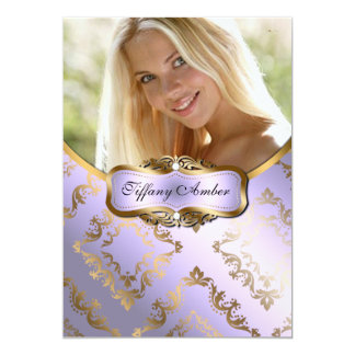 Lavender and Gold Damask Photo Invite