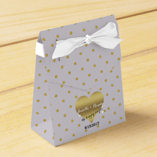 Lavender And Gold Heart Polka Dot Favour Boxes
