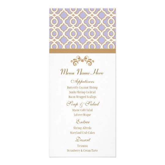 Lavender and Gold Moroccan Menu Rack Cards
