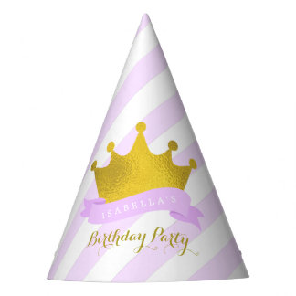 Lavender and Gold Tiara Princess Birthday Party Hat