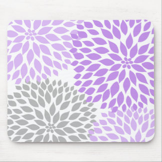 Lavender and gray dahlia desk office accessory mouse mat