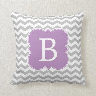 Lavender and Gray Monogram Chevron Stripes Cushion