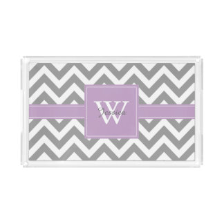 Lavender and Gray Monogrammed Chevrons Pattern Acrylic Tray