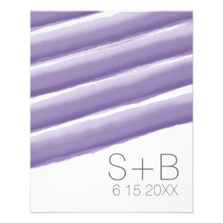 Lavender and Gray Watercolor Stripes Wedding Full Color Flyer
