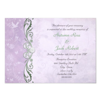 Lavender and Green Spring Floral Wedding Reception 13 Cm X 18 Cm Invitation Card