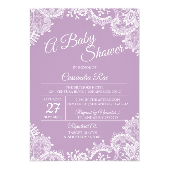 Lavender and Lace Baby Shower Invitation