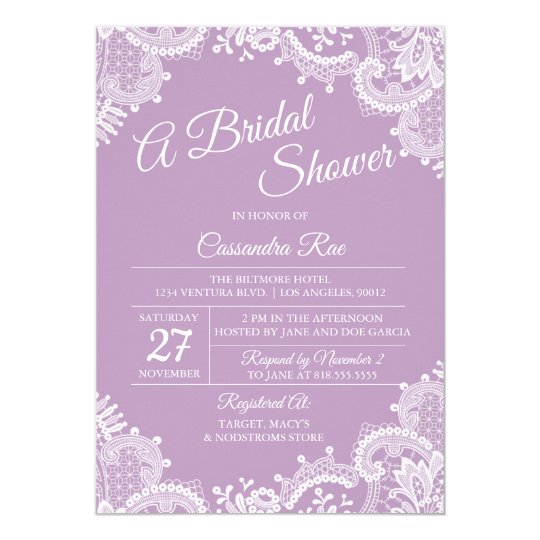 Lavender and Lace Bridal Shower Invitation