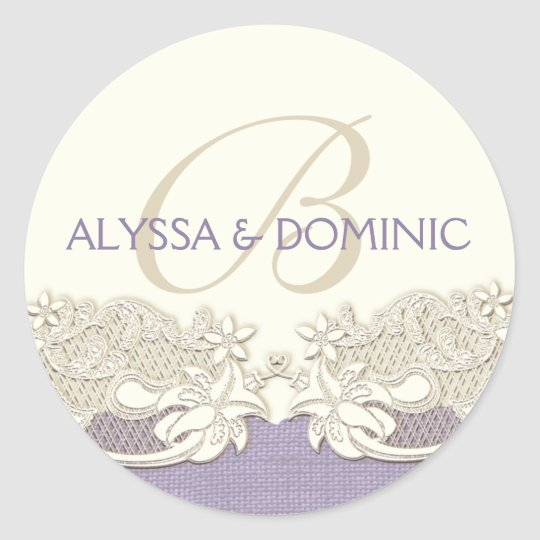 Lavender and Lace Ivory Monogram Classic Round Sticker