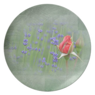 Lavender and Lace Roses Plate