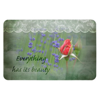 Lavender and Lace Roses Rectangular Photo Magnet