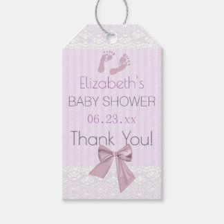 Lavender and Lace with Bow Baby Shower Gift Tags