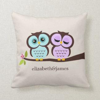 Lavender and Mint Owls Wedding Throw Cushion