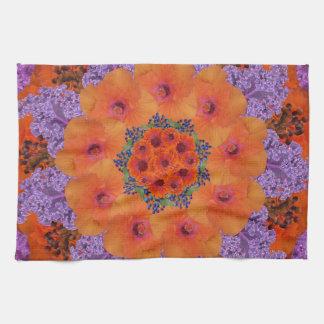Lavender and Orange Kaleidoscopic Fantasy Tea Towel
