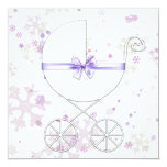 Lavender and Pink Snowflake Baby Shower Custom Invitations