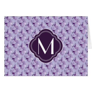 Lavender and Purple Damask Pattern with Monogram Greeting Card