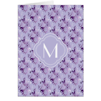 Lavender and Purple Damask Pattern with Monogram Cards