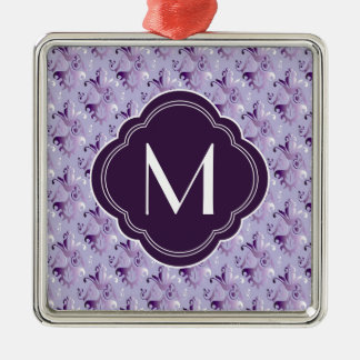 Lavender and Purple Damask Pattern with Monogram Christmas Tree Ornaments
