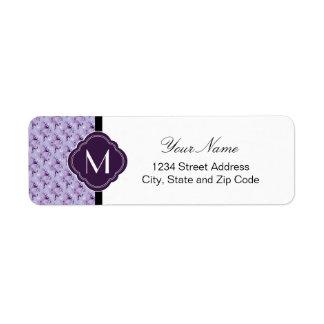 Lavender and Purple Damask Pattern with Monogram Return Address Label