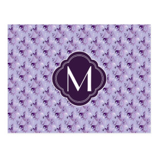 Lavender and Purple Damask Pattern with Monogram Postcards