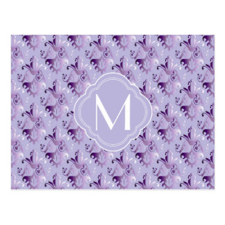 Lavender and Purple Damask Pattern with Monogram Postcard