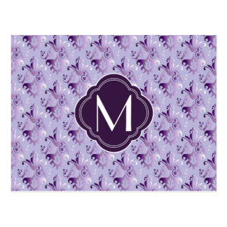 Lavender and Purple Damask Pattern with Monogram Post Cards