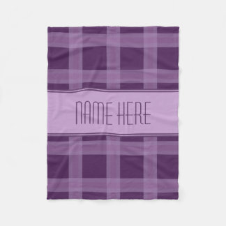 Lavender And Purple Plaid Custom Name Blanket