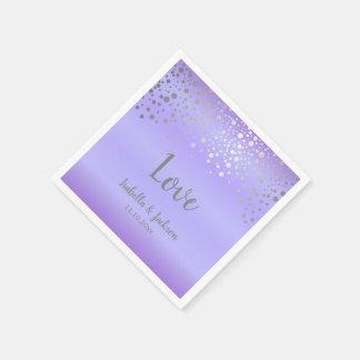 Lavender and Silver Confetti Dots Paper Napkin