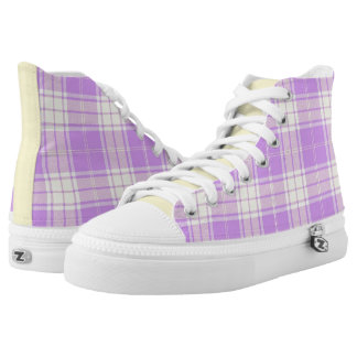 Lavender and Soft Yellow Plaid High Top Sneakers