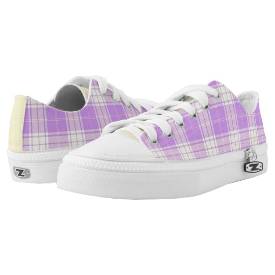 Lavender and Soft Yellow Plaid Low Top Sneakers