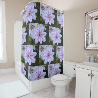 Lavender and White Clematis Shower Curtain