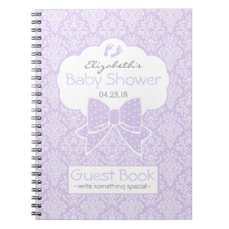 Lavender and White Damask Shower Guest Book