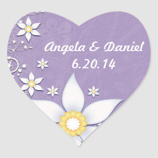 Lavender and White Flowers Save the Date Sticker