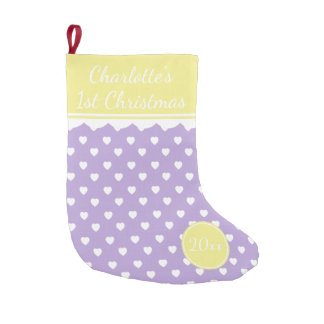 Lavender and White Hearts 1st Christmas Small Christmas Stocking