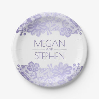 Lavender and White Lace Floral Elegant Wedding 7 Inch Paper Plate
