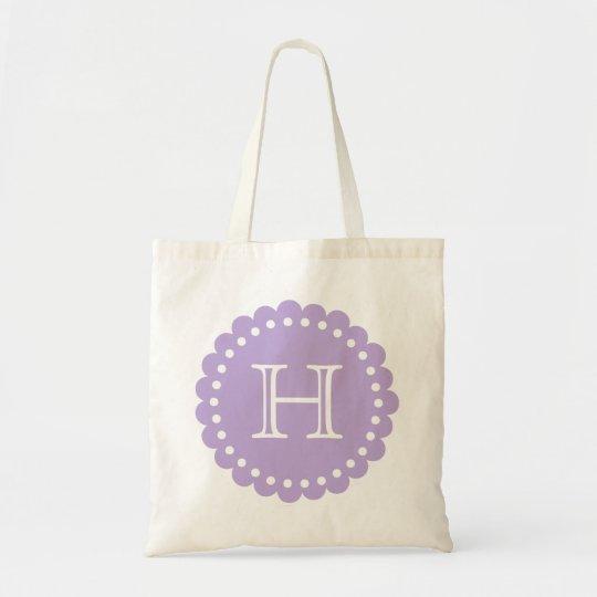 Lavender and White Polka Dot Flower Monogram Tote