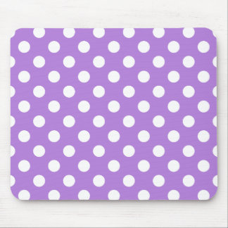 Lavender and White Polka Dots Mouse Mat